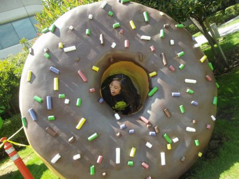 Trying to eat the donut at Google Headquarters. Google, Mountain View, CA