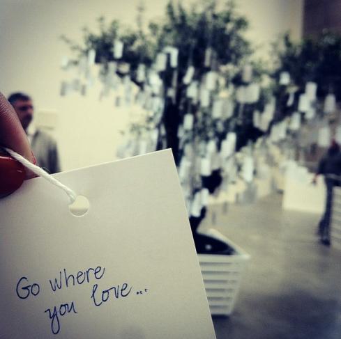 At the Yoko Ono tree in Guggenheim de Bilbao
